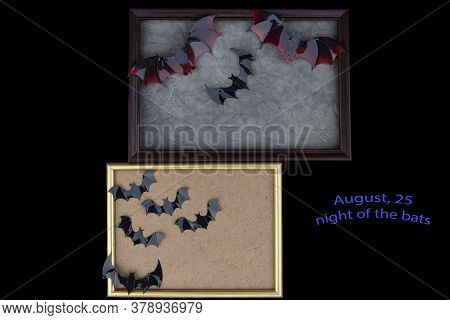 On A Black Background, In Two Frames, There Are Images Of Plastic Bats. At The Bottom Side There Is