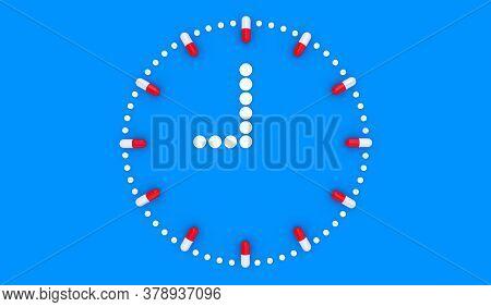 Pill Clock. Pill Tablet Clock. Pill Time. Medication Schedule. Blue Background. 3D. 3D Rendering