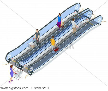 Isometric Escalator Isolated On White Background. Woman And Man With Shopping Cart On Escalator In M