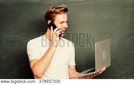 Digital Concept. Online Communications. School Teacher With Laptop. Digital Technology. Digital Scie