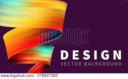 Twisting Shapes, Strip, Ribbon, Tape Horizontal Multicolor Design For Banner. Abstract Background.