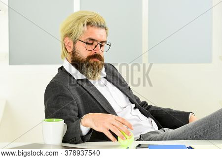 Business Manager Relaxing. Office Job. Business Concept. Hipster Play Tennis Ball. Burnout And Lack