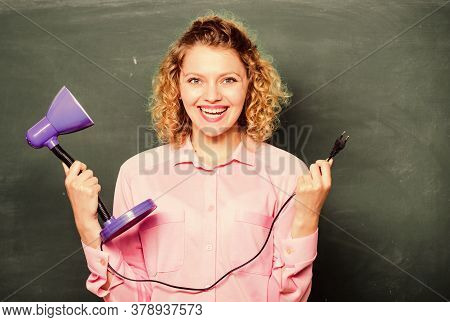 Teacher Hold Table Lamp In Hand Chalkboard Background. Knowledge Day. Insight And Idea. Educational