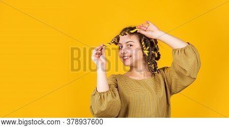 Childhood Happiness. Happy Girl In Hair Curlers Playing Hairdresser Salon. Easy Tips Making Hairstyl
