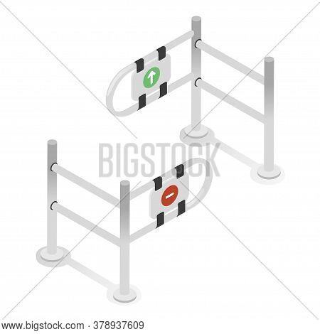 Turnstiles Gate, Input Metal Stand. Checkpoint, Paid Access, Faregate Or Ticket Barrier.