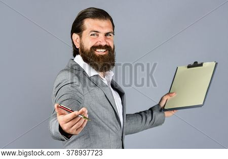 Welcome On Board. Portrait Of Successful Businessman Dressed In Formal Clothes. Serious Boss With Do