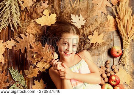Making Her Hair Shine. Little Girl With Wavy Hairstyle On Fall Background. Hair Salon For Kids. Pret