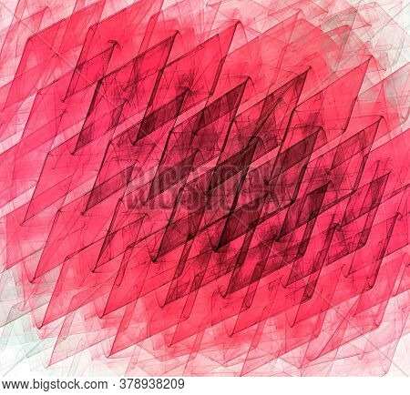 Abstract Fractal Background With Red And Black Rhombuses. The Rhombuses Are Located In One Direction