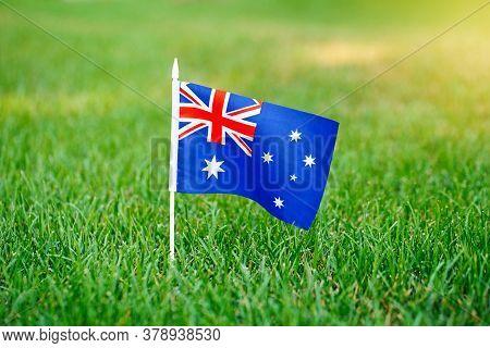 Australian Flag Standing On Green Grass. Australia Day National Holiday Celebration. Nature Backgrou