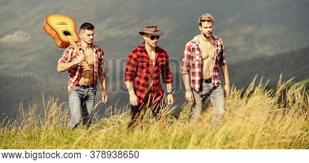 Tourists Hiking Concept. Hiking With Friends. Enjoying Freedom Together. Long Route. Group Of Young