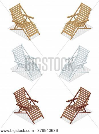 Isometric Wooden Deck Chairs, Lounge Sun Chair Isolated On White Background. Set Of Wooden Reclining