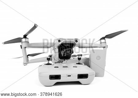 Rostov, Russia - July 22, 2020: Quadcopter Dji Mavic Air 2 With Camera And Straightened Blades Is Le
