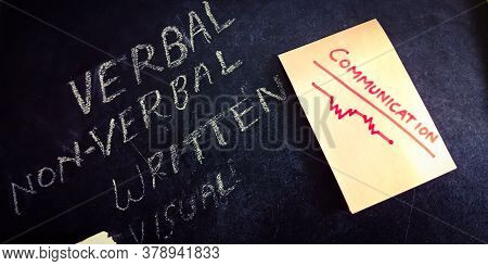 Type Of Communication Verbal Nonverbal Written And Visual Word With Hand Written Concept On Educatio