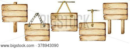Watercolor Wooden Signboard On Ropes, Chains, Pillar Empty Blank Isolated. Vintage Old, Retro Hand P
