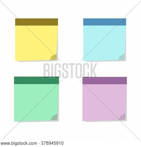 Square Sticky Notes With Shadow Curved Edge In Flat Style Isolated On White Background