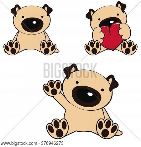 Cute Little Baby Pug Dog Cartoon Sitting Set Collection In Vector Format