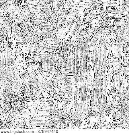 Seamless Nature Cracked Line Black White Texture. Imperfect Weathered Fissure Pattern Background. Or