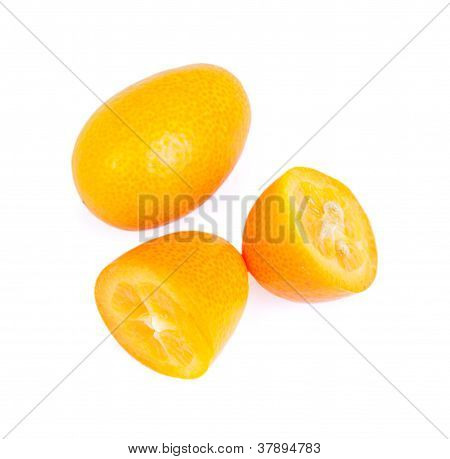 Kumquat Isolated On The White Background