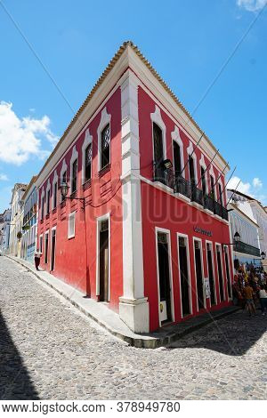 Colorful Colonial Houses At The Historic District Of Pelourinho. The Historic Center Of Salvador, Ba
