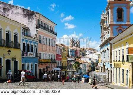 Colorful Historic District Of Pelourinho With Cathedral On The Background. The Historic Center Of Sa