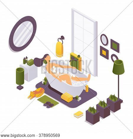 Isometric Girl In The Bathtub Relaxing And Smiling. 3d Interior Scene With Burning Candles And Bathr