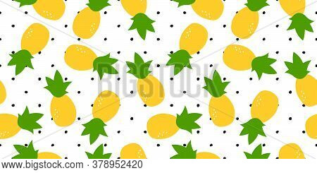 Fresh, Yellow Colorfull Ananas Vector Seamless Pattern. Texture Background Simple And Stylized. Idea