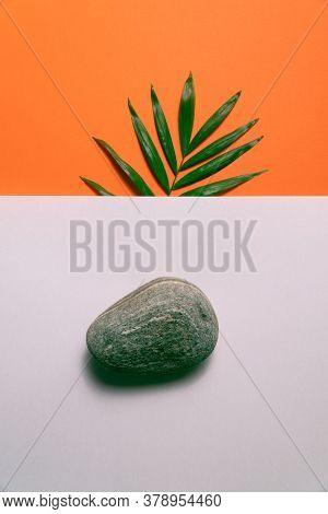Tropical plant leaf and pebble stone on orange and white paper background. Flat lay, top view, minimal design template with copyspace.