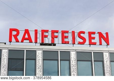 Geneva, Switzerland - October 1, 2017: Raiffeisen Logo On A Building. Raiffeisen Is A Swiss Cooperat