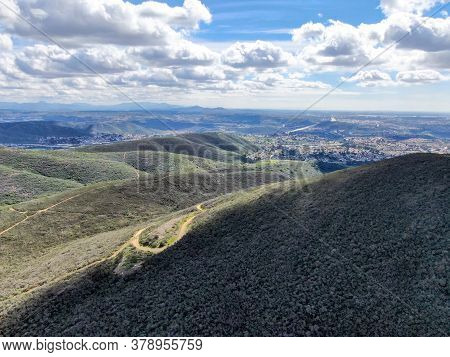 Aerial View Of Black Mountain In Carmel Valley, San Diego, California, Usa. Green Dry Mountain Durin