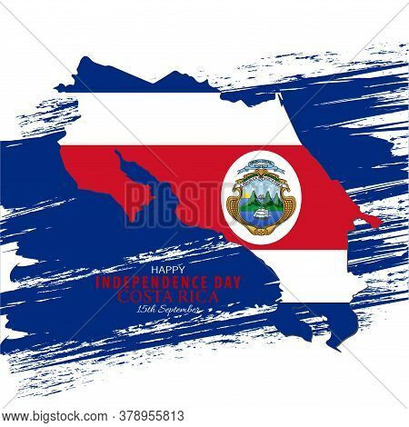 Vector Illustration Of Costa Rican Flag With Typography. 15th September The Republic Of Costa Rica H