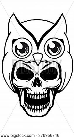 Skull Make A Owl Hat. Skull With A Olw Skull