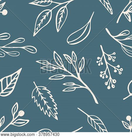 Leaf, Plants And Sprigs Seamless Pattern On A Green Background. Cute Beige Vegetal Organic Design Wi
