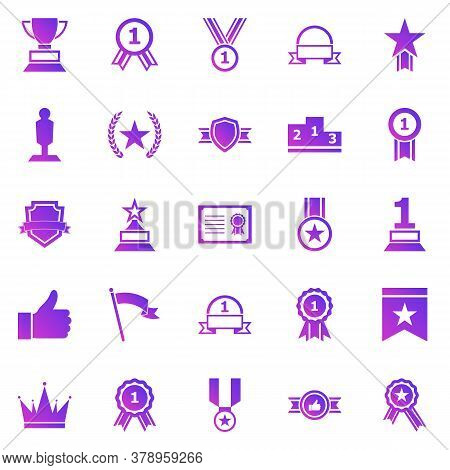 Winner Gradient Icons On White Background, Stock Vector
