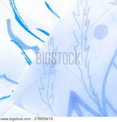 White Ornamental Textile. Maritime Navy Print. Oriental Nautical Indigo Pattern. Marine Winter Batik