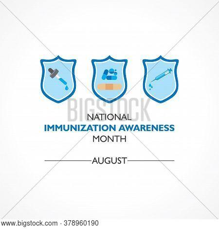 Vector Illustration National Immunization Awareness Month Observed In August