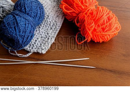Woolen Thread, Knitting, Knitting Needles On Wooden Table