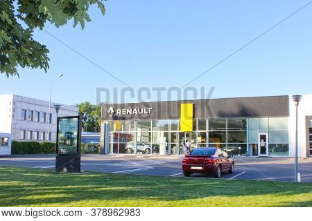 Kyiv, Ukraine - July 29, 2020: Renault Salon With Sign Against Blue Sky. Renault Is Known For Its Ro