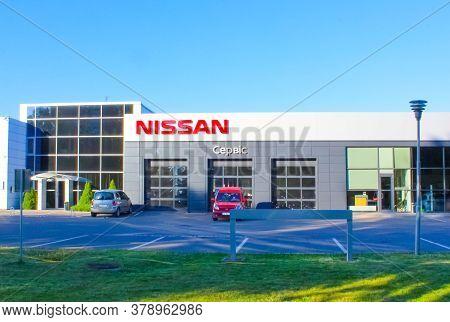 Kyiv, Ukraine - July 29, 2020: The Car Salon With Nissan Logo At Kyiv, Ukraine On July 29, 2020
