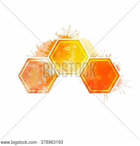 Yellow Watercolor Honeycomb With Splashes On A White Background. Beehive And Wax. Golden Warm Honey.