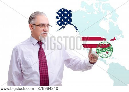 Concept of immigration to USA with virtual button pressing