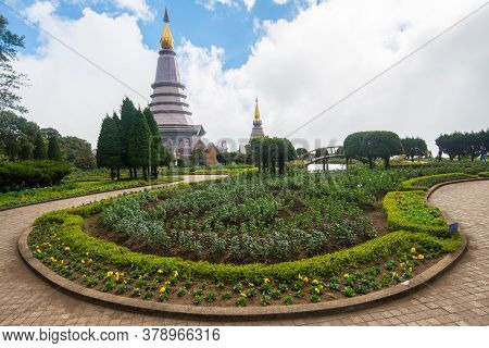 The Landscape Of Flower Garden And Iconic Twin Pagoda On Doi Inthanon The Highest Mountains In Chian