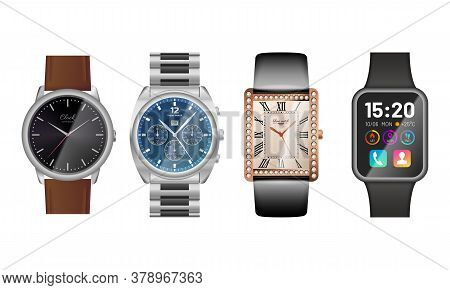 Modern And Classic Watches Set. Elegant Analog Wrist Watches And New Generation Electronic Smart Dev