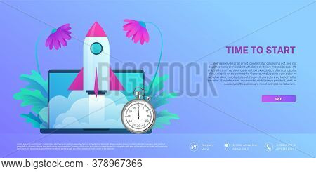 Time To Start Landing Page Template. Space Rocket Flying Out From Laptop Screen With Stopwatch. Busi