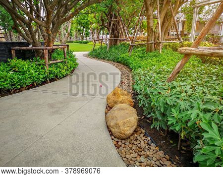 Greenery Bush And Trees In Garden With Gray Curve Pattern Walkway, Sand Washed Finishing On Concrete