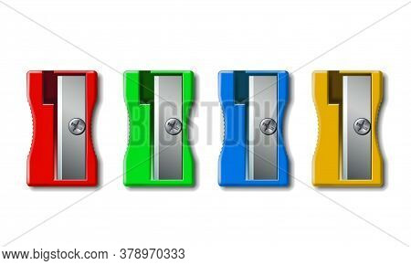 Set Of Realistic 3d Colorful Plastic Pencil Sharpener Isolated On White