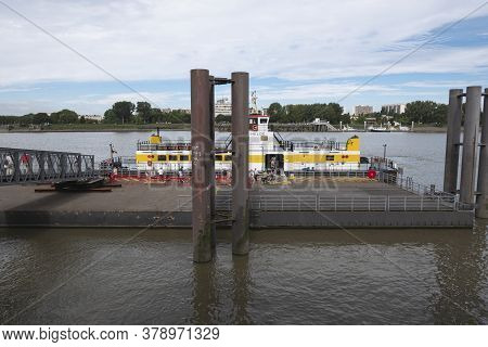 Antwerp, Belgium, July 19, 2020, Docking Place And Ferry Between Left And Right Bank