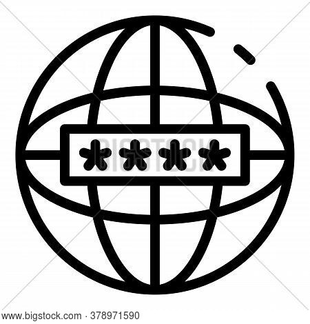 Global Internet Authentication Icon. Outline Global Internet Authentication Vector Icon For Web Desi