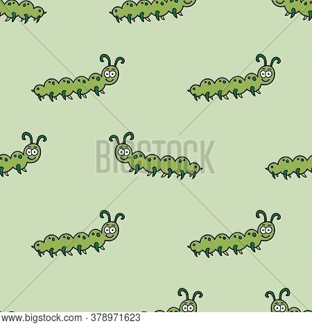 Cartoon Doodle Happy Caterpillar In Childlike Style Seamless Pattern. Insect Infinity Summer Backgro