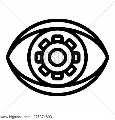 Eye Scan Remote Access Icon. Outline Eye Scan Remote Access Vector Icon For Web Design Isolated On W