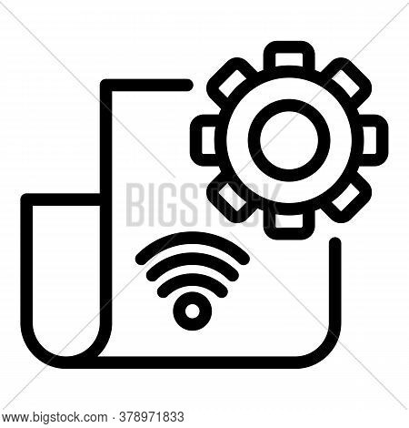 Gear Paper Remote Access Icon. Outline Gear Paper Remote Access Vector Icon For Web Design Isolated
